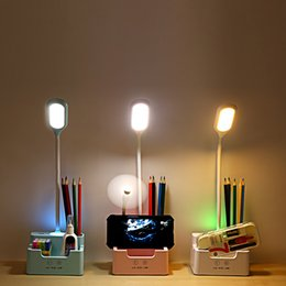 study table for kids room UK - Rechargeable Led Table Lamp With Fan Touch Dimmable Desk Lamp Eye protection Reading Light For Kid With Phone Hoder Pen Holder