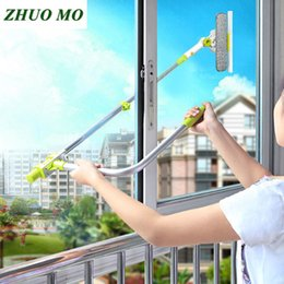 Wholesale Hot Upgraded Telescopic High rise Window Cleaning Glass Cleaner Brush For Washing Window Dust Brush Household Cleaning Tools T190704
