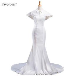 wholesale New Arrival Strapless mermaid Wedding Dress 2019 with shawl  Vestido De Novia Simple Glossy Bridal Gown Robe Mariee 3e371dfcb249
