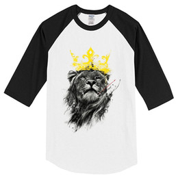 $enCountryForm.capitalKeyWord Australia - Summer T-shirts Men 2019 Three Quarter Sleeve Cotton King Of Lion Pattern Fashion Hip Hop Streetwear Men's T-shirt Tops Tees