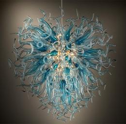 $enCountryForm.capitalKeyWord Australia - Hot Sale Modern Chandelier Lighting Aqua Gery Color 100% Hand Blown Glass Art Chandelier for Home Decoration