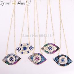 $enCountryForm.capitalKeyWord Australia - 5 Strands Zyz325-9667 Turkish Eye Cz Pendant Necklace, Gold Color Micro Pave Cz Eye Charm, Blue Eye Pendant With Double Bails J190531