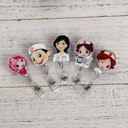 Wholesale Cute Cartoon Mini Retractable Badge Reel Nurse Lanyards Id Name Card Badge Holder Clip Student Nurse Badge Holder