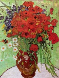 $enCountryForm.capitalKeyWord Australia - Handpainted Red Poppies and Daisies by Vincent Van Gogh Art Repro Oil Painting On Canvas Wall Art Home Decor High Quality l79