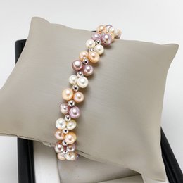 Wholesale 100 Freshwater Pearl Bracelet mm Round Bracelet For Women color Woven Bracelet Handmade Christmas Gift Fashion Accessories