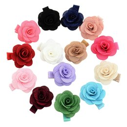 China Small Artificial Flower Camellia Rose Hair Clip Ribbon Wrapped Floral Women Hairclips Hairpins Girls Headdress Hair Accessories cheap hair ribbons flowers small suppliers