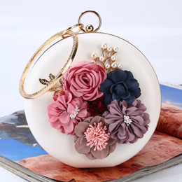 flowers blue Australia - Hot style flower evening bags luxury women clutch bag purse round pearl dinner bag lady small change bag