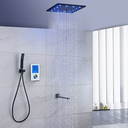 faucets thermostat NZ - Thermostat 16 inch LED Ceiling Shower System LCD Touch Screen Digital Display Black Large Shower Set with light Rotating Lower Faucet