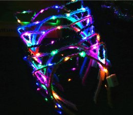 Glows Sticks Australia - 1800pcs LED Glowing Cat Ear Headband Light Up Girl Flashing Hair Band Concet Cheer Xmas Theme Party Gift Environment-friendly plush headband