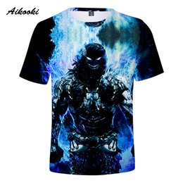 girls skull t shirt 2019 - Aikooki Skull T Shirts Men Women Summer Cool 3D Short Sleeve T-shirt Boys Girls TShirt Blue Fire Skull Breathable Street