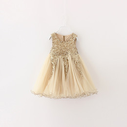 Gold Tutu For Baby Australia - 3 colors 2017 Summer Baby Girls Clothes Lace Tutu Dresses Fashion Childrens Prubcess Sequins gold Dresses for Kids Clothing Party Dress