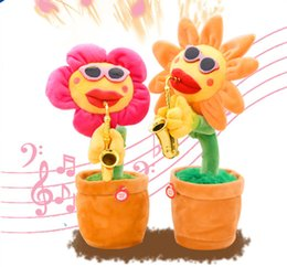 $enCountryForm.capitalKeyWord NZ - Sunflower Plush Music Toys Saxophone Dance Funny Electronic dance music Toy 60pcs songs funny party gift