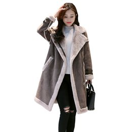 Parka Leather Sleeves Women Australia - Autumn Winter Women Suede Jackets Outerwear 2018 Long Sleeve Faux Leather Patchwork Thick Lambswool Female Warm Coat Parkas