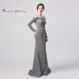 sexy grey wedding dress NZ - 100% Real Pictures Grey Sexy Elegant Mermaid Prom Dress Off Shoulder Modest Special Occasion Dresses Long Evening Dresses Maxi Gown 5258