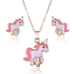 $enCountryForm.capitalKeyWord Australia - 2018 Pink Animal Jewelry Set Children Jewelry Cartoon Horse Unicorn Necklace Earring Unicorn Sets For Girls Best Gifts