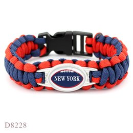 Red Football Team NZ - Sale Navy Red Umbrella Rope Hand Thread Bracelet Womens Mens Glass Cabochon New York Football Team Outdoor Camping Survival Paracord Jewelry