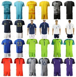 yellow green soccer kits NZ - France Goalkeeper GK Goalie Soccer 1 Hugo Lloris Jersey Set 16 Steve Mandanda 23 AREOLA Football Shirt Kits Uniform Yellow Black Blue White