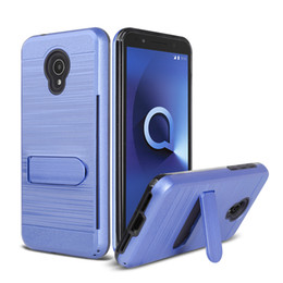 Wholesale alcatel resale online - TPU PC Hybrid Kickstand Impact Armor Case for Alcatel x Evolve R Folio R ideal exite Cameox Foxxd Miro Cover Card Slot Holder