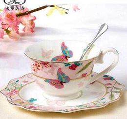 $enCountryForm.capitalKeyWord Australia - Ceramic Coffee Cup Set Bone China Drinkware Porcelain Tea Cups And Saucers Afternoon Tea Set Christmas Gift