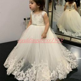 girls first birthday tutu Australia - Lace Tulle Flower Girls' Dresses Sleeveless Princess 2k19 A-Line Girls Birthday Formal Gowns First Communion Dresses Kids Tutu Pageant