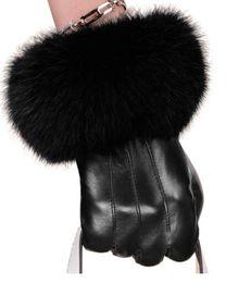 Warm Leather Gloves Ladies Australia - Women winter top quality Genuine Leather Luxury fashion brand gloves Long fluff classic warm soft Ladies sheepskin finger gloves