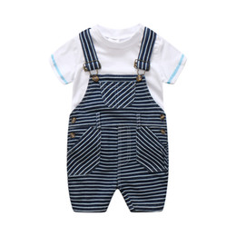 Discount overalls suit girls - Newborn Baby Girl Boy Striped Bib Suit Clothes Summer High Quality Boys Sets White T-shirt + Overalls 2PCS Children Outf