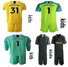 0212e1f10 2018 2019 Soccer goalkeeper kit kids  1 C.BRAVO EDERSON  31 Goalie uniform  City football Long Sleeve Children Soccer jerseys set