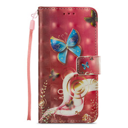China Painted Blue butterfly leather flip case for iphone 6 6s 7 8 plus x xr xs max with Credit card slot wallet shockproof case supplier roses butterflies suppliers