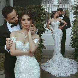 $enCountryForm.capitalKeyWord Australia - 2019 New Modern Mermaid Wedding Dresses Arabic Sweetheart Full Lace Appliques Long Court Train Plus Size Open Back Bridal Gowns Vestidos