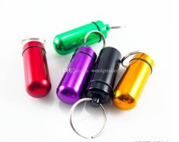 waterproof keychain pill holder Australia - Portable cheap aluminum Waterproof Pill Case metal keyChain Medicine Storage box pill container tobacco Bottle Holder Herb wax Container