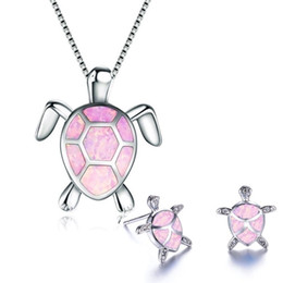 $enCountryForm.capitalKeyWord Australia - Exquisite Sea Turtle Animal Pendant Necklace & Earrings Jewelry Set Mysterious Blue Fire Opal Necklace Earrings Jewelry Set For Women