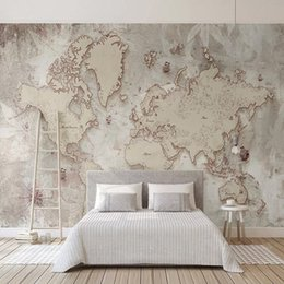 Painting world maP online shopping - Custom D Photo Wallpaper Retro World Map Wall Painting Living Room Study Elder s Bedroom Background Wall Murals Home Decoration