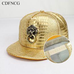 K pop hat online shopping - CDF Fashion Summer Snapback K Pop Hip Hop Baseball Cap D Metal Lion Sun Dad Hat for Men Streetwear BBOY Gorras Casquette