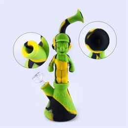 Dry Herb Water Bong NZ - Silicone Water Pipes Mario Silicon Bubbler Bong Recycler Dry Herb Dab Wax Rig Tobacco Smoking Oil Burner Pipes With 14mm Glass DHL