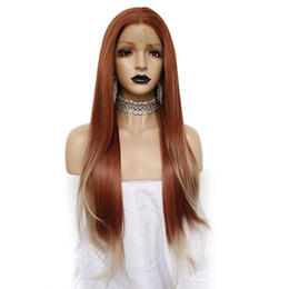 orange light brown hair UK - 2019 New hairstyle Cosplay hair Orange Ombre White wig Straight Halve Long Women Lace Front Wig