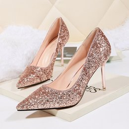 $enCountryForm.capitalKeyWord NZ - Sexy spiky heels sequins women's singles thin heels wedding shoes bridesmaids' tuxedo shoes ladies woman high heel