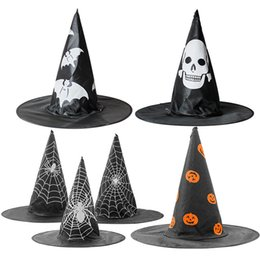 spider hat halloween Australia - New 12pcs lot Halloween props hat holiday party supplies witch pumpkin spider web design witch hat role play costume accessories hat T3I5361