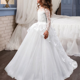 wedding dresses cap sleeves beaded top UK - Cap Sleeves Ball Gown Flower Girls Kids Dresses Jewel Beaded Neck Lace Top Floor Length With Ribbon White Communion Party Dress