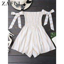 $enCountryForm.capitalKeyWord Australia - Zaful Strapless Self Tie Striped Romper Casual Women Rompers Jumpsuits Summer Playsuits Off Shoulder Bowknot Sleeve Overalls Y19060501