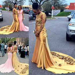 See through faShion online shopping - Gold African Mermaid Evening Dresses Hollow Back Sexy Handmade Flowers Appliques See Through Long Sleeve Prom Dress Black Girls Party Gowns