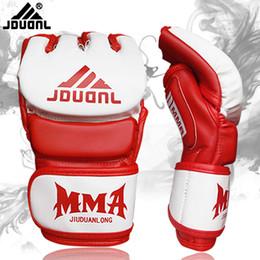 $enCountryForm.capitalKeyWord Australia - Wholesale-High Quality Half Mitts Boxing Luva Boxe Half Finger Gloves Men Mma Fight Sanda Wushu Training Equipment Pu Leather Gloves 2017