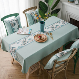 Restaurant Tablecloth Cotton NZ - Waterproof Tablecloths European Classical Solid Color Embroidered Cotton and Linen Table Cover Restaurant Striped Table Cloth