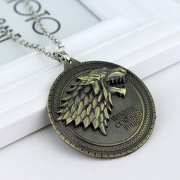 game thrones stark necklace Australia - 100pcs Game of Thrones necklace House Stark Winter Is Coming Metal Family Crest pendant jewelry souvenirs gift Maxi Wolf Punk Men