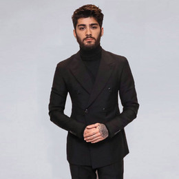 ClassiC suit designs for men online shopping - New Fashion Black Men Suits for Wedding Tuxedo Grooms Prom Party Peak Design Best Man Outfit Groomsmen Attire Piece Slim Terno Masculino