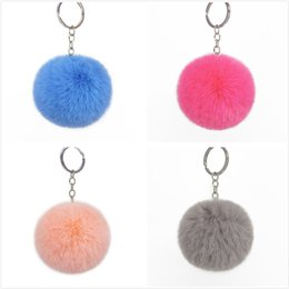 rabbit earrings NZ - Pom Poms Plush Keychain Car Keyring Bag Earrings Accessories Rabbit Fur Ball Keychain Soft Fur Ball Lovely Gold Metal Key Chains Ball