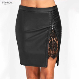 $enCountryForm.capitalKeyWord Australia - Office New Lady Formal Lace Leather Bodycon Skirts High Waist Zipper Pu Patchwork Black Sexy Summer Pencil Skirts