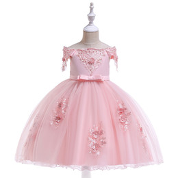 Birthday Evening Gowns For Kids Australia - Lovley Pink Bateau Flower Girls Dresses Lace Beads Applique Bow Princess Kids Pageant Birthday Gowns For Wedding Evening Party Dress