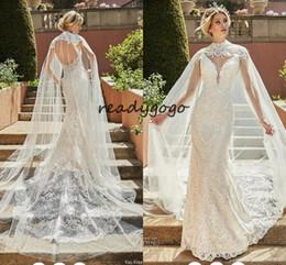$enCountryForm.capitalKeyWord NZ - Arabic Dubai Mermaid Wedding Dresses with Wrap Cape 2019 Full Lace Applique Backless Trumpet Garden Beach Bridal Wedding Gown