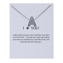 Wholesale 2019 Design Initial Letters Crystal Silver Necklace Women Sweater Chain Best Friends Gift Jewelry