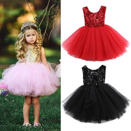 $enCountryForm.capitalKeyWord Australia - Fashion Tulle Kids Baby Flower Girls Party Sequins Dress Gown Bridesmaid Dresses Pageant wedding Dresses Knee Length 6 M-6Years
